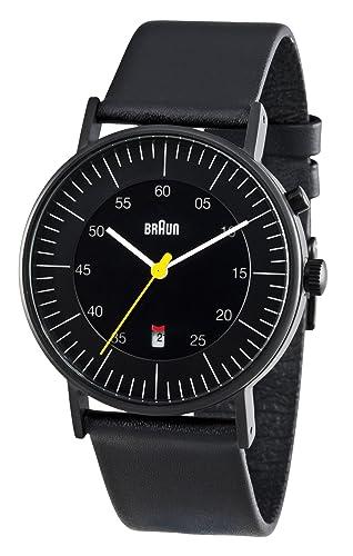 Braun BN0013BKBKG - Reloj analógico de caballero de cuarzo con correa de piel negra: Amazon.es: Relojes