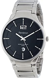 amazon com armitron men s 204677blsv stainless steel bracelet armitron men s 20 4914bksv stainless steel silver tone calendar window bracelet watch