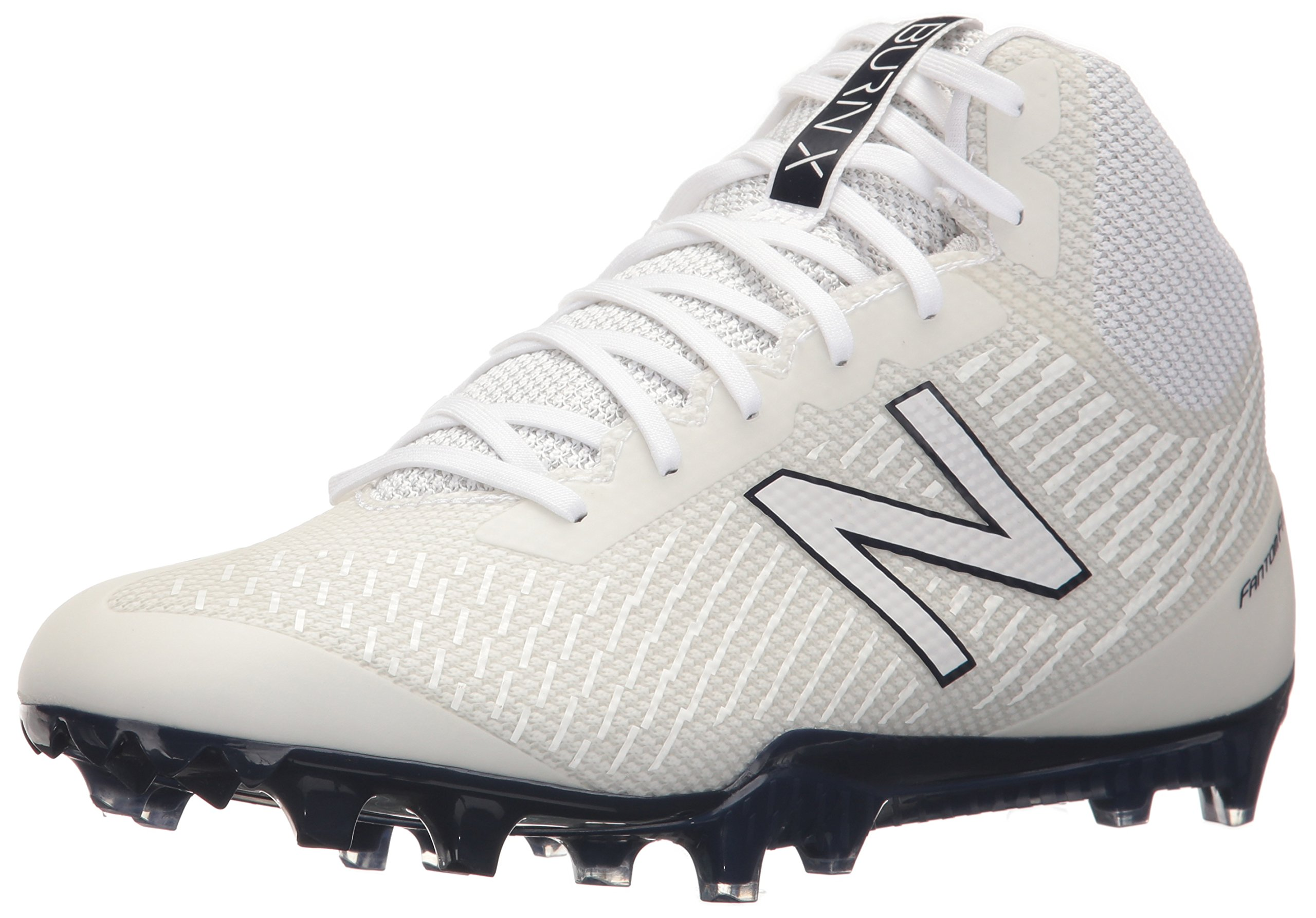 New Balance Men's BURN Mid Speed Lacrosse Shoe, White/Blue, 9.5 D US by New Balance
