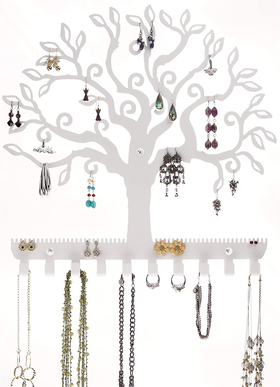 Angelynn's Stud Dangle Earring Holder Wall Mount Hanging Jewelry Organizer Display Necklace Jewelry Storage Rack, Tree of Life White