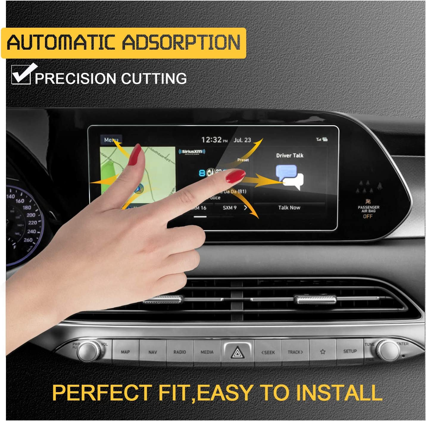 RUIYA Center Touch Control Screen Protector for 2020 Palisade Sonata DN8 10.25In,Car Navigation Tempered Glass 9H Anti-Scratch and Shock Resistant Touch Screen Protector Telluride 2020