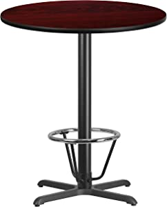 Flash Furniture 36'' Round Mahogany Laminate Table Top with 30'' x 30'' Bar Height Table Base and Foot Ring
