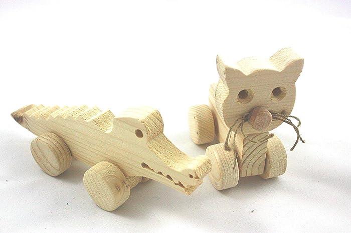2er Set Kleine Tiere Aus Holz Auf Rädern Holzfiguren Zum Bemalen