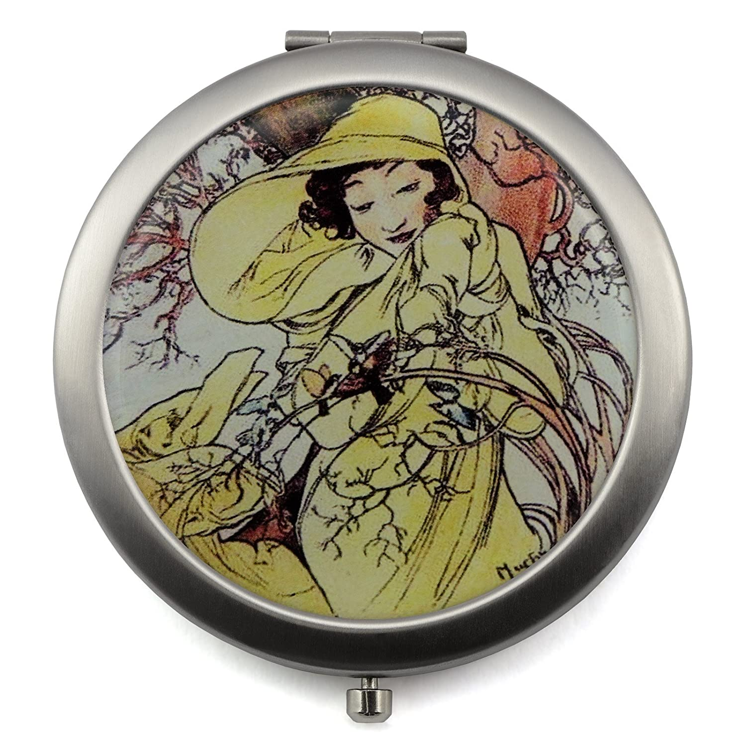 Compact Mirror with Vintage Four Seasons Sign Design Pocket Makeup Mirror – Perfect for Purses Travel 2-sided with 2X Magnifying Mirror and 1x Mirror