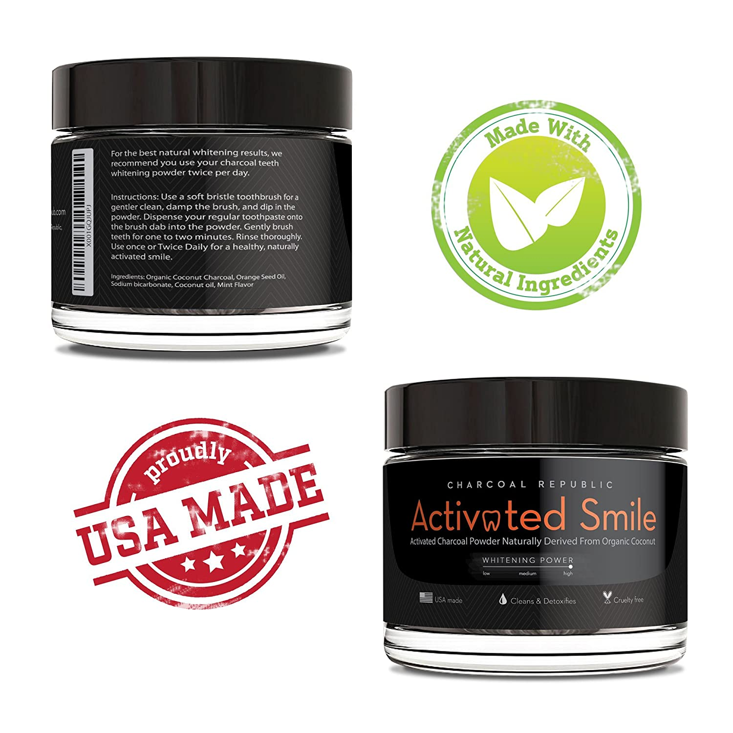 1f172b7e616a2 Amazon.com : Activated Smile Natural Teeth Whitening Charcoal Powder - Best Activated  Charcoal Teeth Whitener - Made in USA - Perfect for Healthier, ...