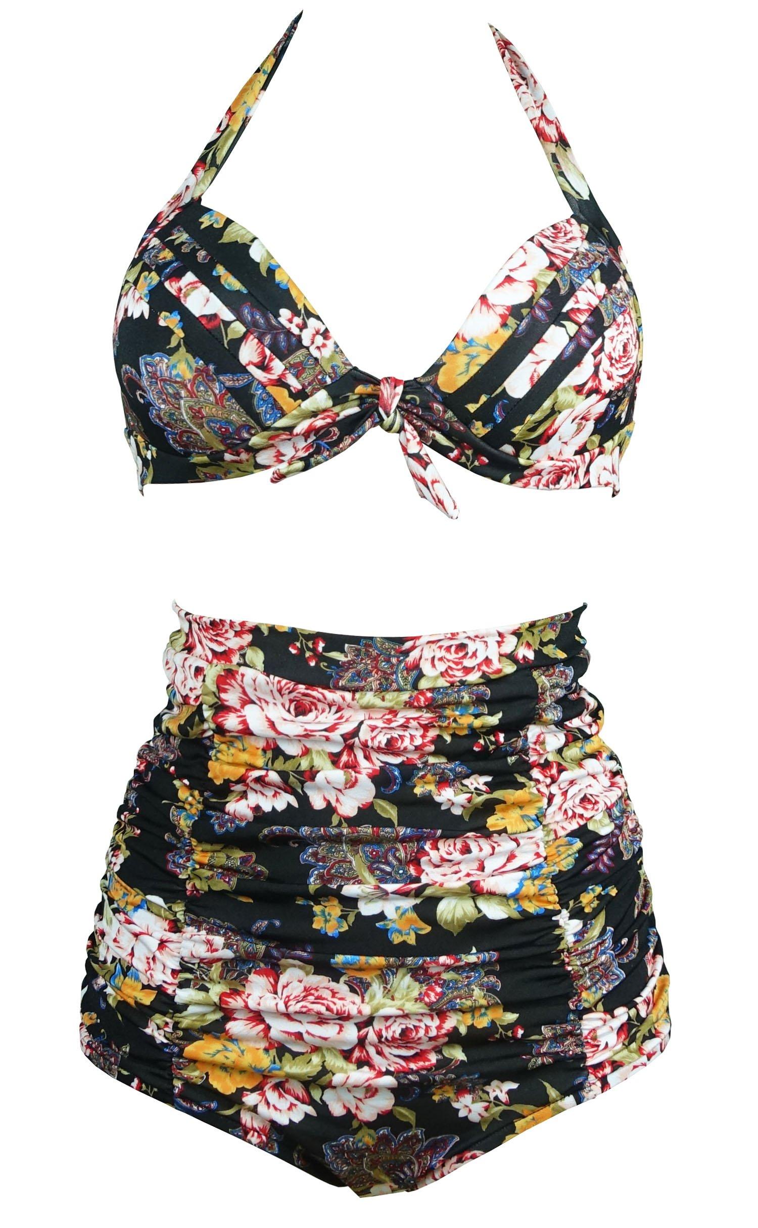 0a741223b6 Galleon - COCOSHIP Retro Black & Peony Floral Halter High Waisted Bikini  Bathing Suit Swimsuit XXXL(FBA)