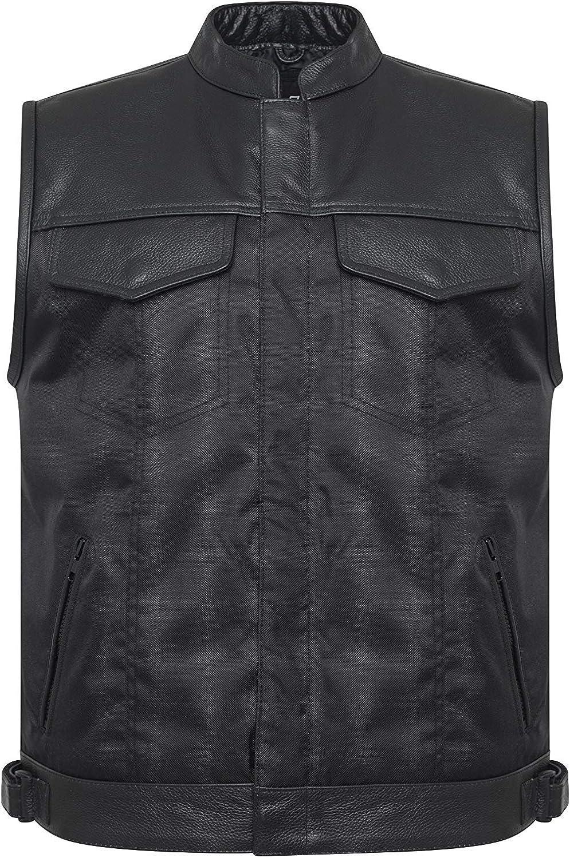 UK Stock Hommes Cordura V/éritable Cuir Noir Bordure Motard Gilet//Gilet
