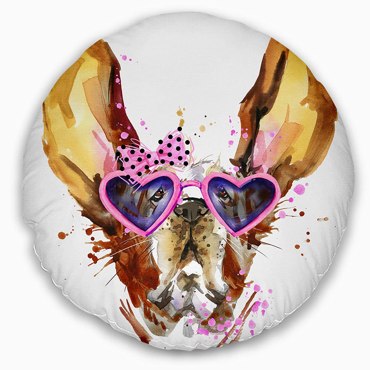 Insert Printed On Both Side Sofa Throw Pillow 20 Designart CU13376-20-20-C Brown Cute Dog with Heart Glasses Animal Round Cushion Cover for Living Room