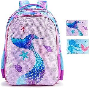 Magic Reversible Sequin School Bag, Lightweight Pre-School Backpack for for Kindergarten or Elementary (Mermaid Purple, 17-inch)