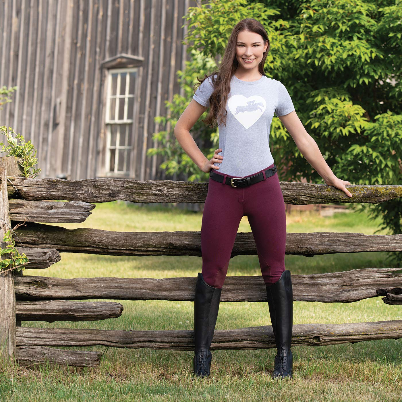 Easy Pull-On Equestrian Riding Pants ELATION Riding Breeches for Women Red Label