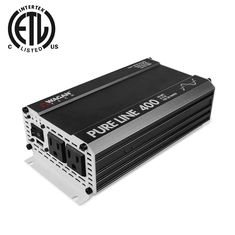 Wagan 3800 Pure Line Power Inverter 400 Watt DC 12V to 110V AC Car Inverter ETL Certified