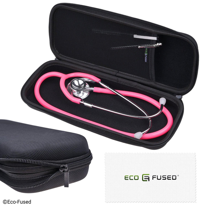 Eco-Fused Stethoscope Case - Passend für: 3M Littmann, MDF, ADC, Omron, etc. - Große Mesh-Tasche für Zubehör - Starkes Nylon Material - Schützt Ihr Stethoskop - verhindert Bents und Dents - Schwarz D0308-STC-BLA