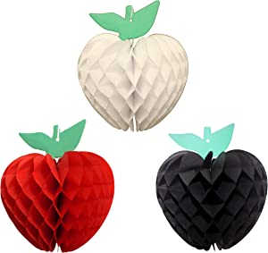 7 Inch Honeycomb Tissue Paper Apple Decoration, Set of 3 (Caribbean Themed Solid Red, White, Black)