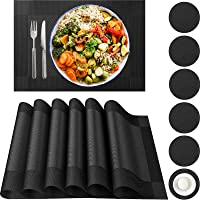 Neween Placemat with Compatible Coaster, Fine Weaving Insulation Placemat Set of 6 Non-Slip Heat Resistant Washable…