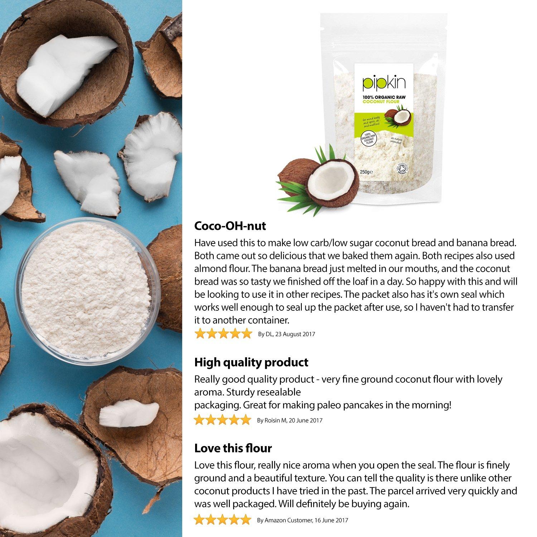 Pipkin de Harina de Coco 100% Bio Orgánica, Sin Refinar, Cruda, Superalimento NO-GMO, Sin Gluten, Alta en Fibra, Sin Frutos Secos, Reemplazo Saludable ...