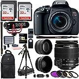 Canon EOS REBEL T7i 18-55mm Video Creator Kit, Polaroid 160 LED Video Light, .43x HD Wide Angle Lens, 2.2X HD Telephoto Lens, Sandisk 64GB, Filter Kit, Camera Shoulder Bag and Premium Accessory Bundle