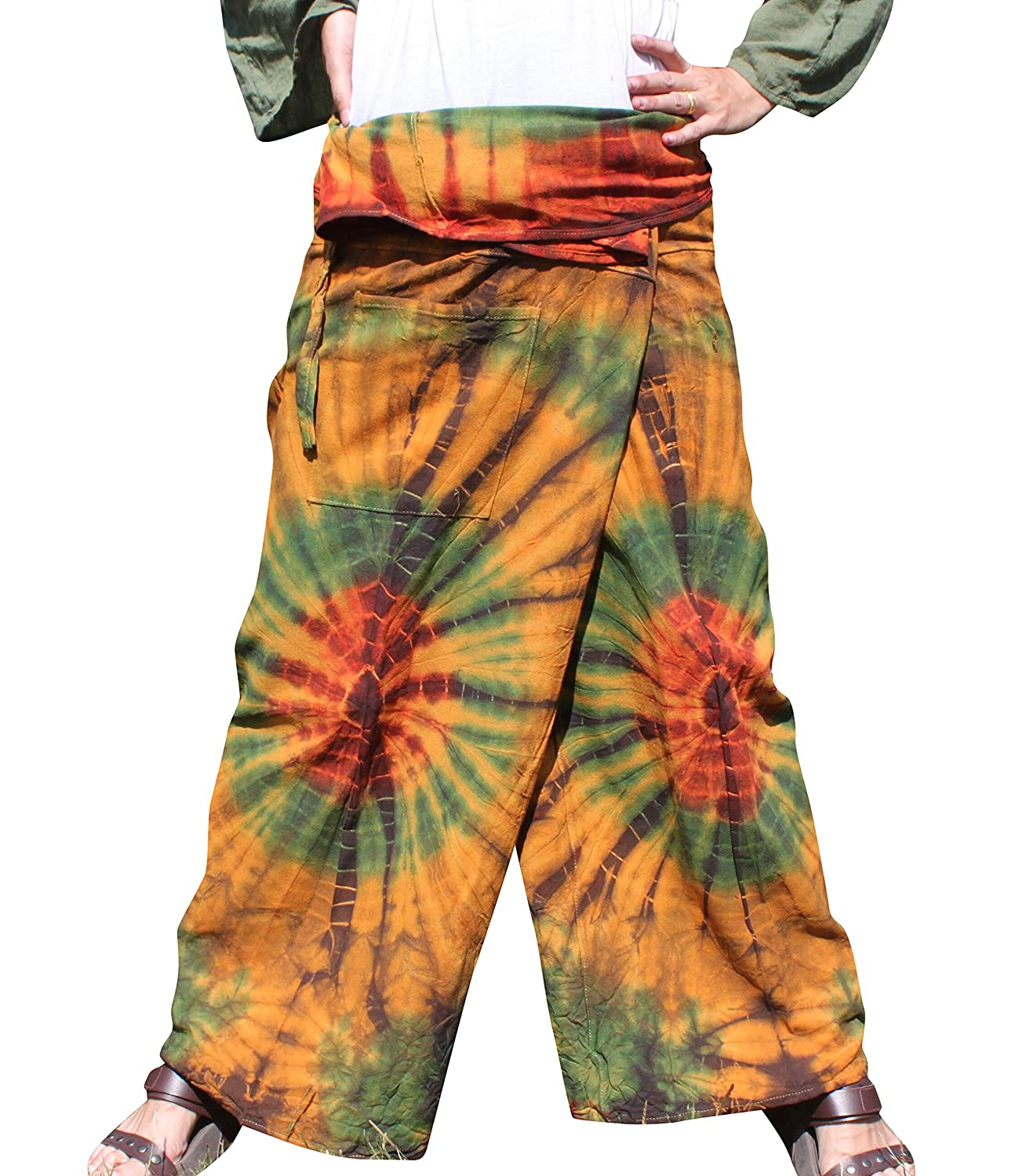 Yellow Green Brown RaanPahMuang Thick Muang Cotton Thai Fishermans Pants Vibrant TieDyed Tie Dye