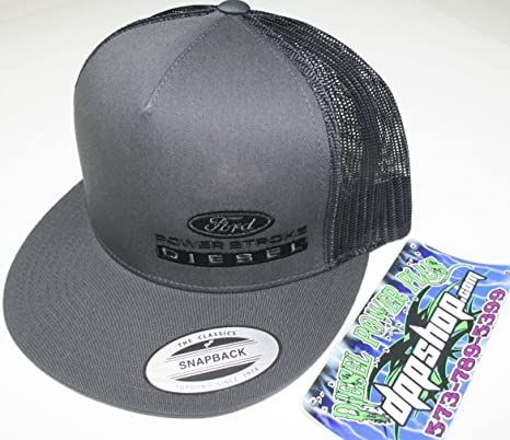 Amazon.com  ford powerstroke trucker Flat bill ball cap hat snap back mesh  black diesel gear dark gray embroidered  Automotive 6a3d7ce1924
