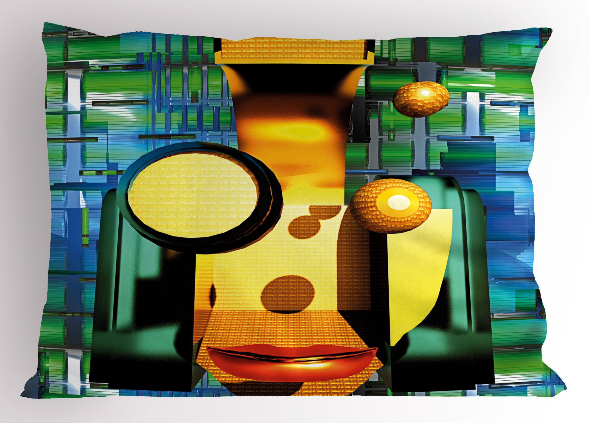 Lunarable Quirky Pillow Sham, Weird Cyborg Design Artificial Machine and Organic Robot Virtual Sci-Fi Technology, Decorative Standard King Size Printed Pillowcase, 36 X 20 inches, Multicolor