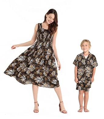 feaea9c43 Matching Mother Son Hawaiian Luau Outfit Tank Elastic Dress Shirt in Leaves  in Black Women One
