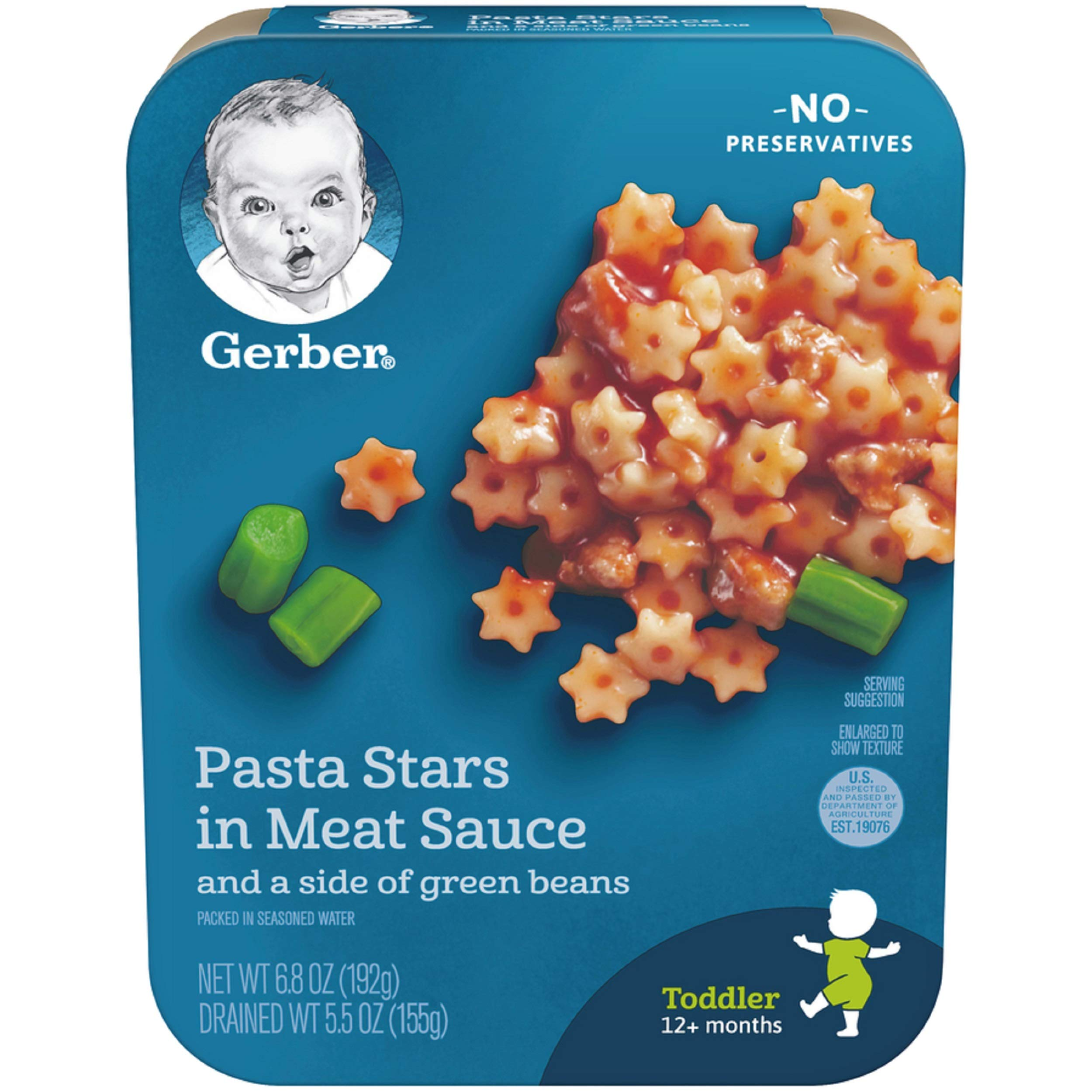 Gerber Graduates Pasta Stars in Meat Sauce with Green Beans, 6.80-Ounce (Pack of 8)