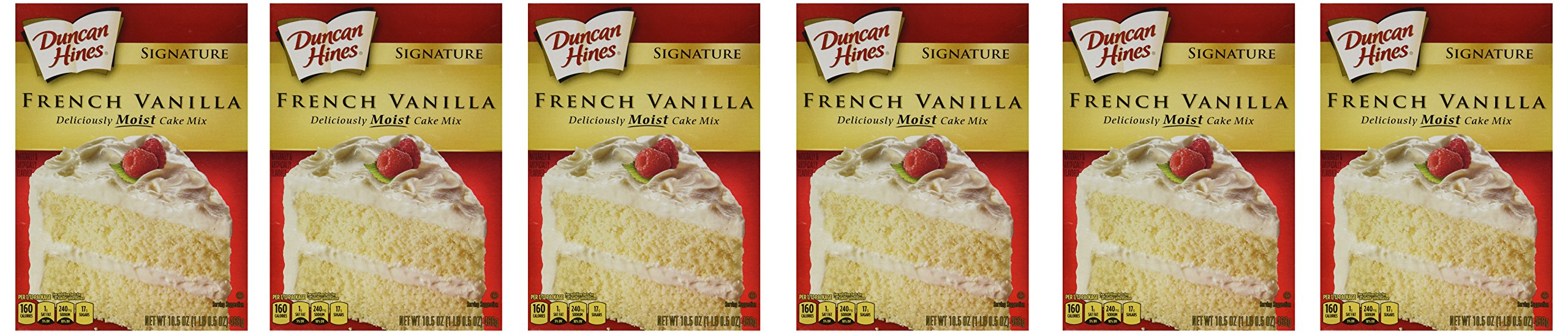 Duncan Hines Signature French Vanilla Cake Mix, 16.5-Ounce Boxes (Pack of 6)