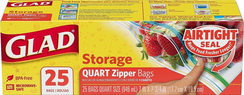 Glad Food Storage Bags, Zipper Quart, 25 Count