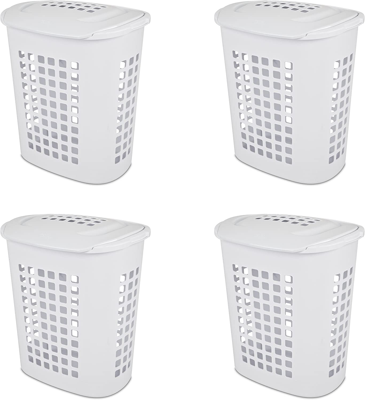 Sterilite 12218004 2.3 Bushel/81 Liter LiftTop Laundry Hamper, White, 4-Pack