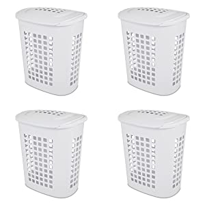 Sterilite 12218004 2.3 Bushel/81 Liter LiftTop Laundry Hamper, White, 4-Pack