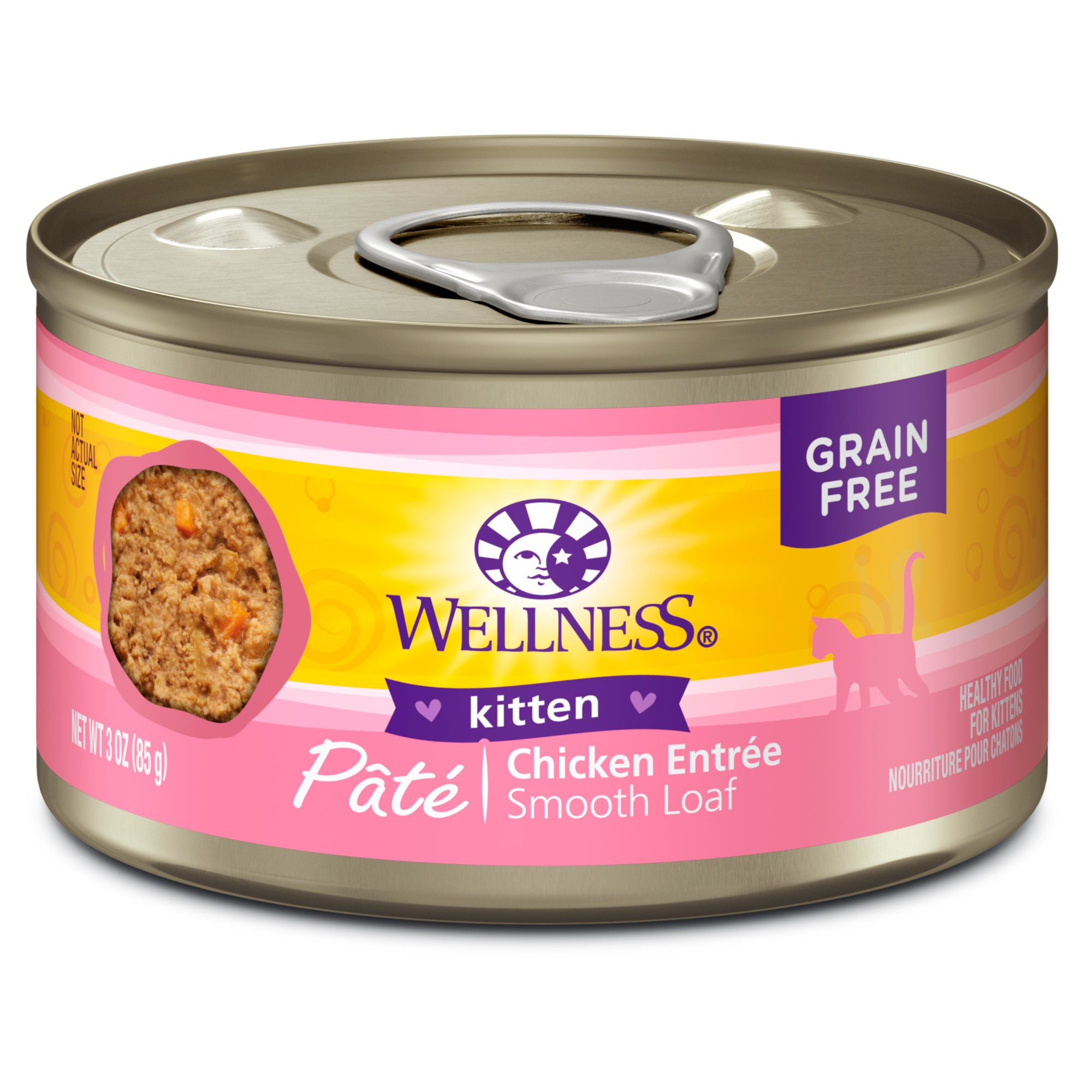 Wellness Natural Grain Free Wet Canned Cat Food, Kitten, 3-Ounce Can (Pack Of 24) by Wellness Natural Pet Food