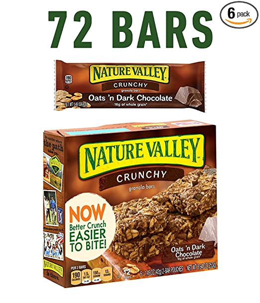 Nature Valley Granola Bars, Crunchy, Oats and Dark Chocolate, 6 Pouches- 1.5 oz, 2-Bars Per Pouch (Pack of 6)