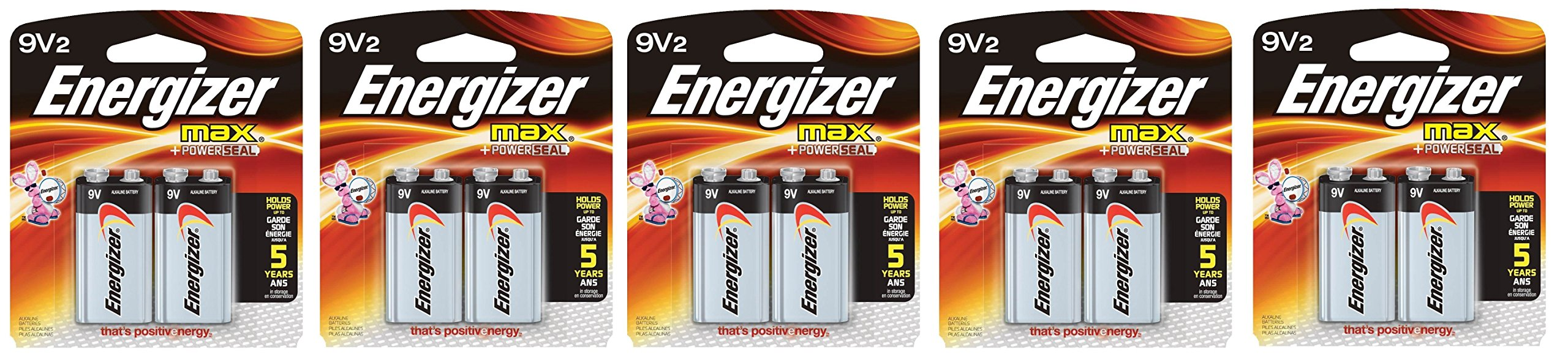 Energizer Max SMKLdg Alkaline 9 Volt, 2 Count, 5 Pack