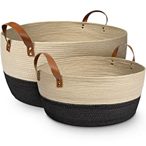 XL and Large Blanket Storage Baskets, 2pc Set – Luxury Palm Woven Basket with Durable Vegan Leather Handles – Decorative Basket for Living Room, Bedroom, Nursery, Blankets, Throws, Toys