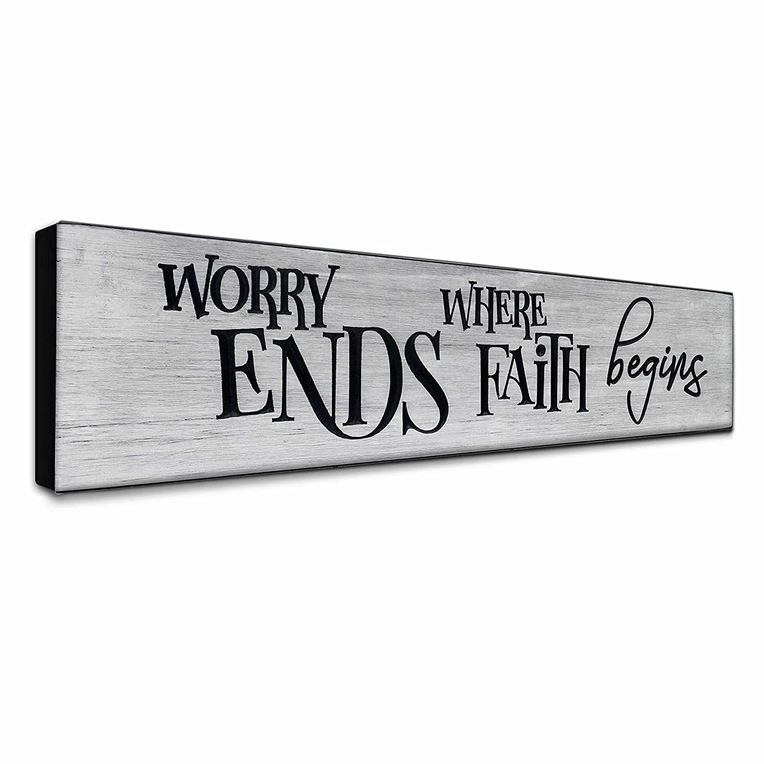 LACOFFIO Inspirational Wall Art Decor - Worry Ends Where Faith Begins Rustic Christian Scripture Kitchen Plaque - Motivational Religious Quotes Wooden Sign for Women