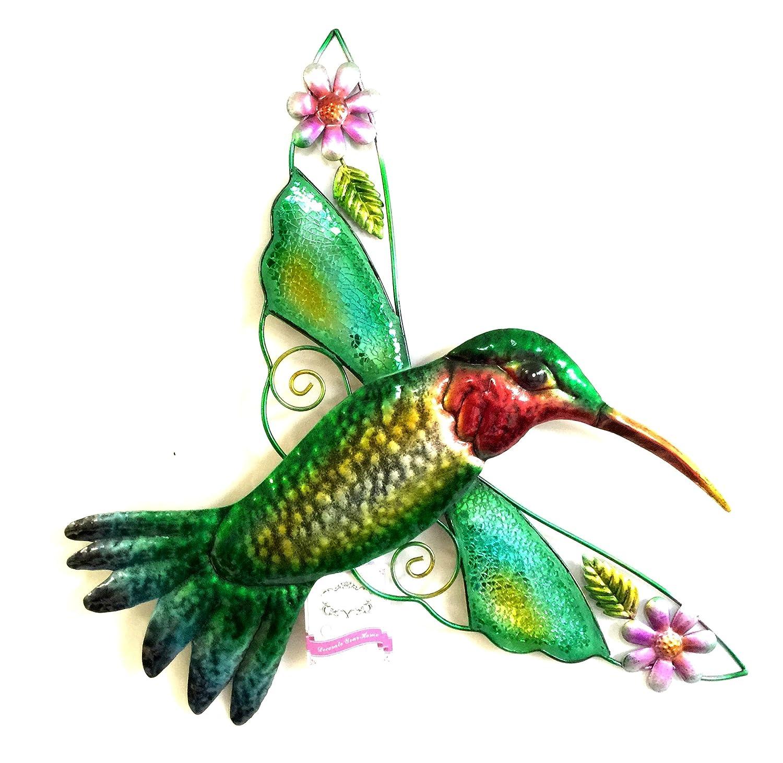 Amazon.com : Bejeweled Display Hummingbird w/ Glass Wall Art Plaque ...