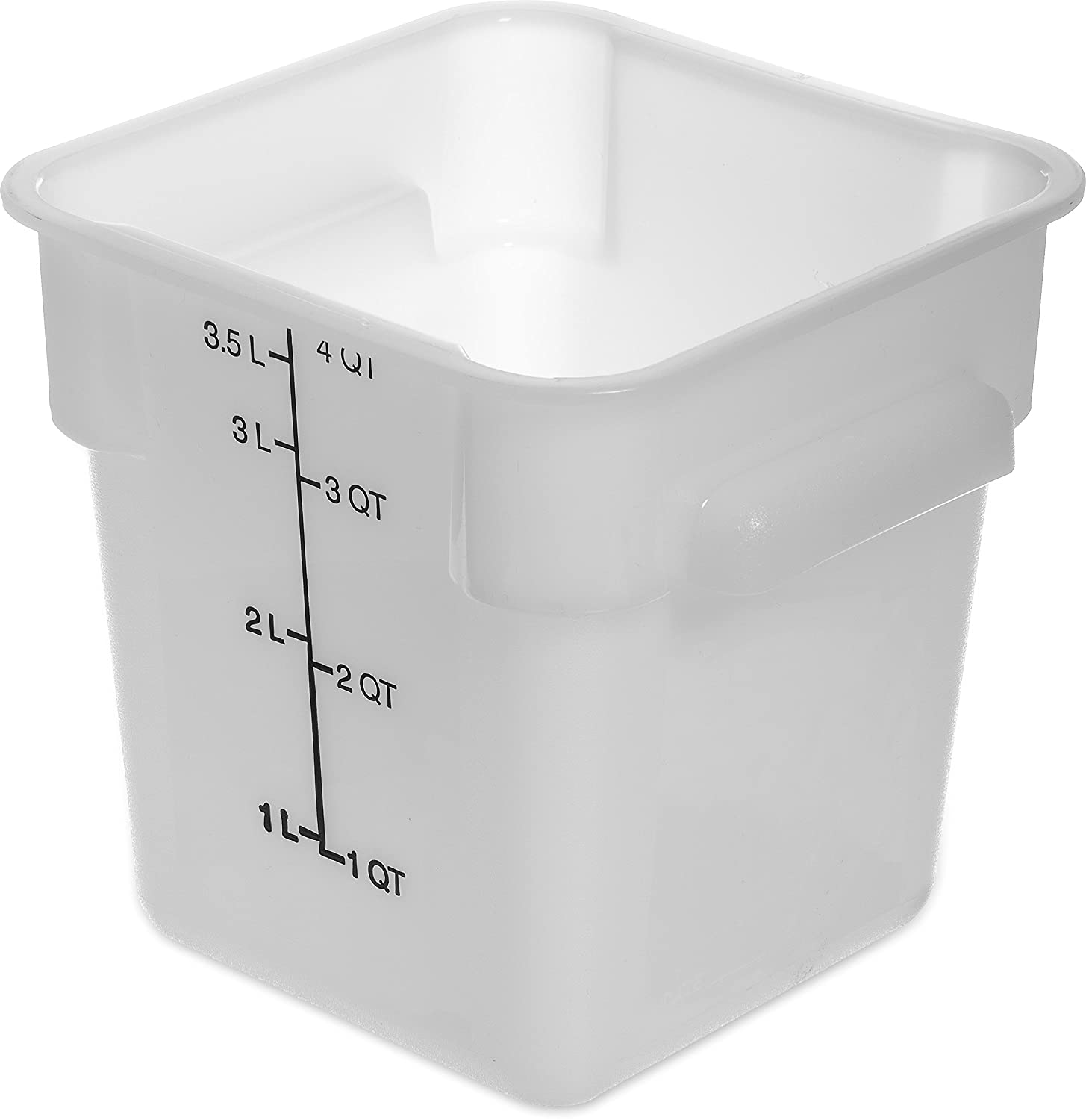 Carlisle 1073102 StorPlus 4 quart Square Food Storage Box, BPA Free, 7.13 Length x 7.13 Width x 7.29 Height, White (Pack of 6)