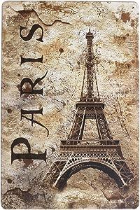 ARTCLUB Vintage Eiffel Tower Paris Metal Tin Sign Wall Decor