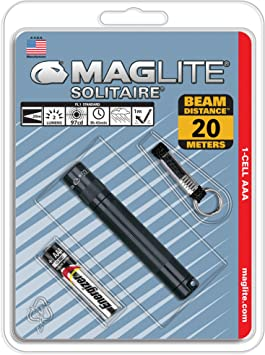 Maglite Solitaire LED 1 Cell AAA Flashlight Keychain SJ3A016 Black 47 LUMS USA