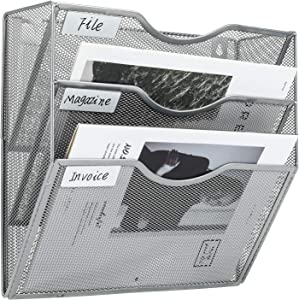 PAG Hanging Wall File Holder Mail Organizer Wall Mount Document Letter Rack, 3-Tier, Silver