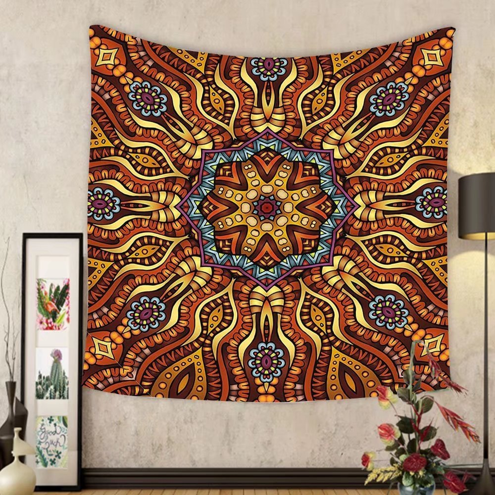 Gzhihine Custom tapestry India Tapestry Ethnic Mosaic Like Kaleidoscope Design with Floral Swirls Image for Bedroom Living Room Dorm 60 W X 40 L Brown Blue Yellow and Marigold