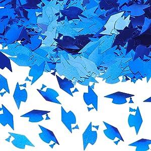Skylety 1000 Pieces Graduation Caps Confetti Graduation Confetti Metallic Graduation Caps Decoration Confetti for Graduation Party Grad Classroom Home Decor Decorations (Blue)