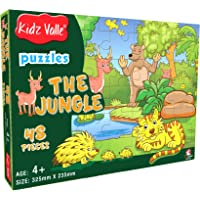 Kidz Valle The Jungle 48 Pieces Tiling Puzzles (Jigsaw Puzzles, Puzzles for Kids, Floor Puzzles), Puzzles for Kids Age 4 Years and Above. Size: 32.5 cm x 23.5 cm