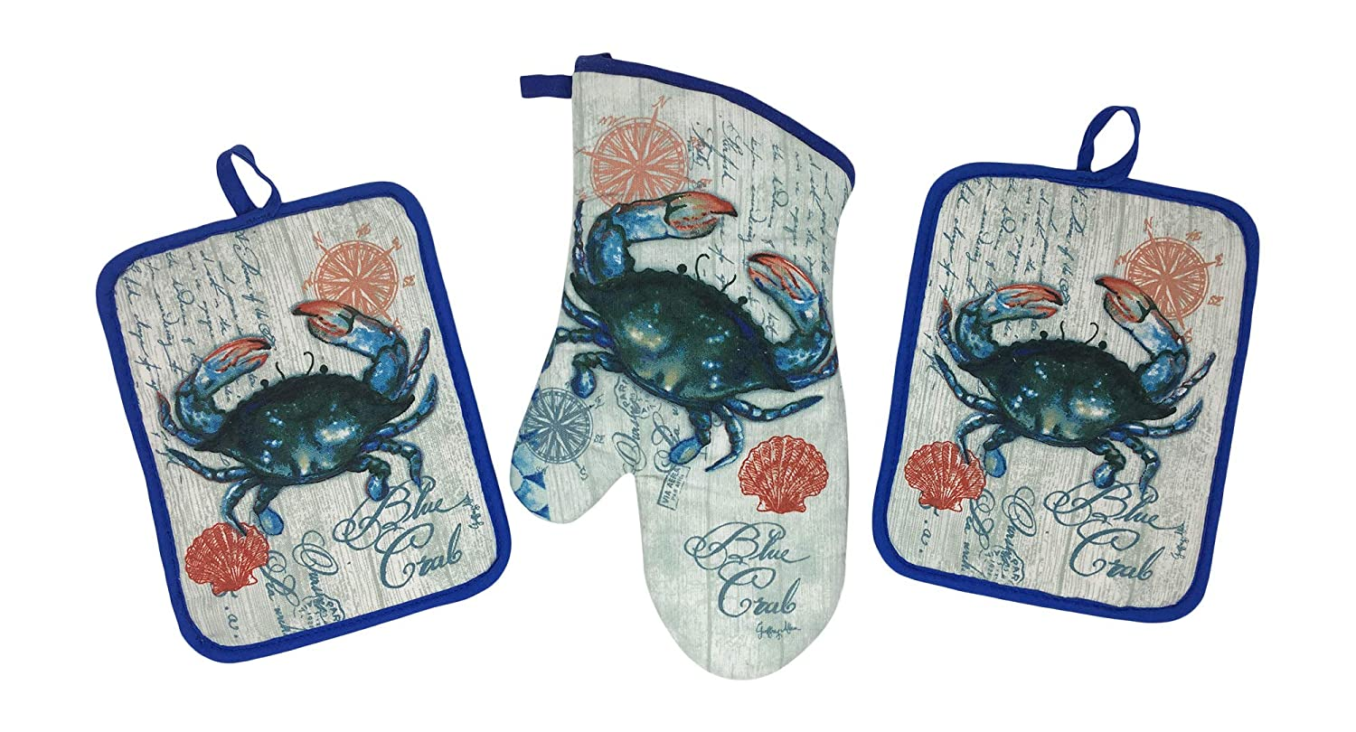 Blue Crab Potholders and Oven Mitt- 3 Piece Kitchen Gift Set