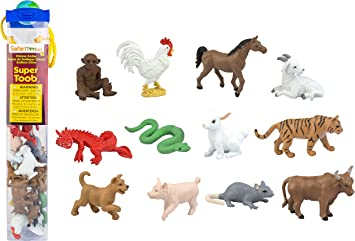 RED BOOK ANIMALS SET 6 PCS 2015 FANCY COLLECTION TIGER GOAT HORSE