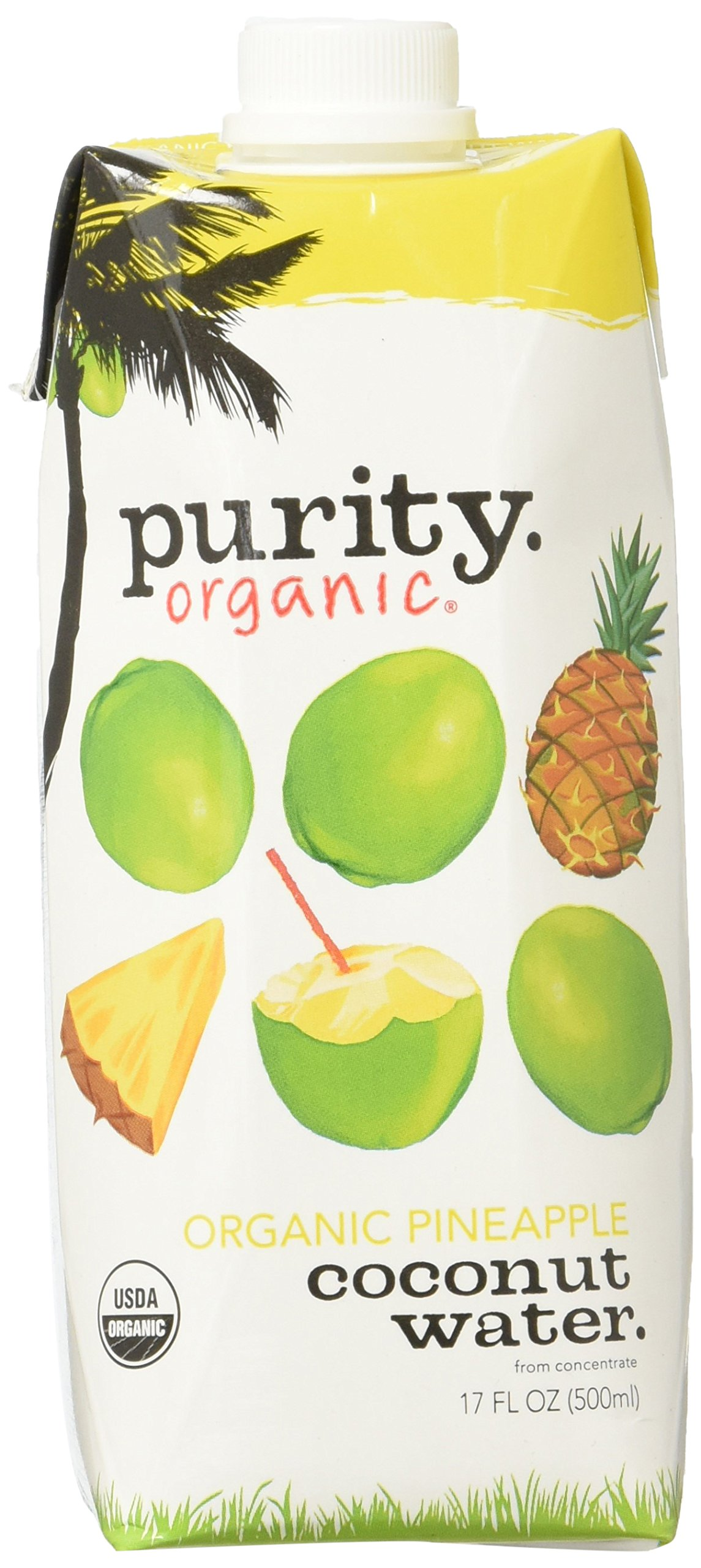 Purity Organic Coconut Water, Pineapple, 17 Ounce, 12 Count