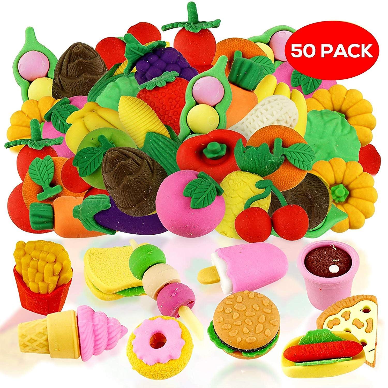 THE TWIDDLERS 50 gomme assortite colorate a forma di cibo - 29 gomme a tema fast food con stili diversi. Perfette per riempire borse regalo, calze di Natale o come premi e regalini da festa