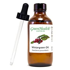 Wintergreen Essential Oil 4 fl oz (118 ml) Glass Bottle w/Glass Dropper – 100% Pure Essential Oil