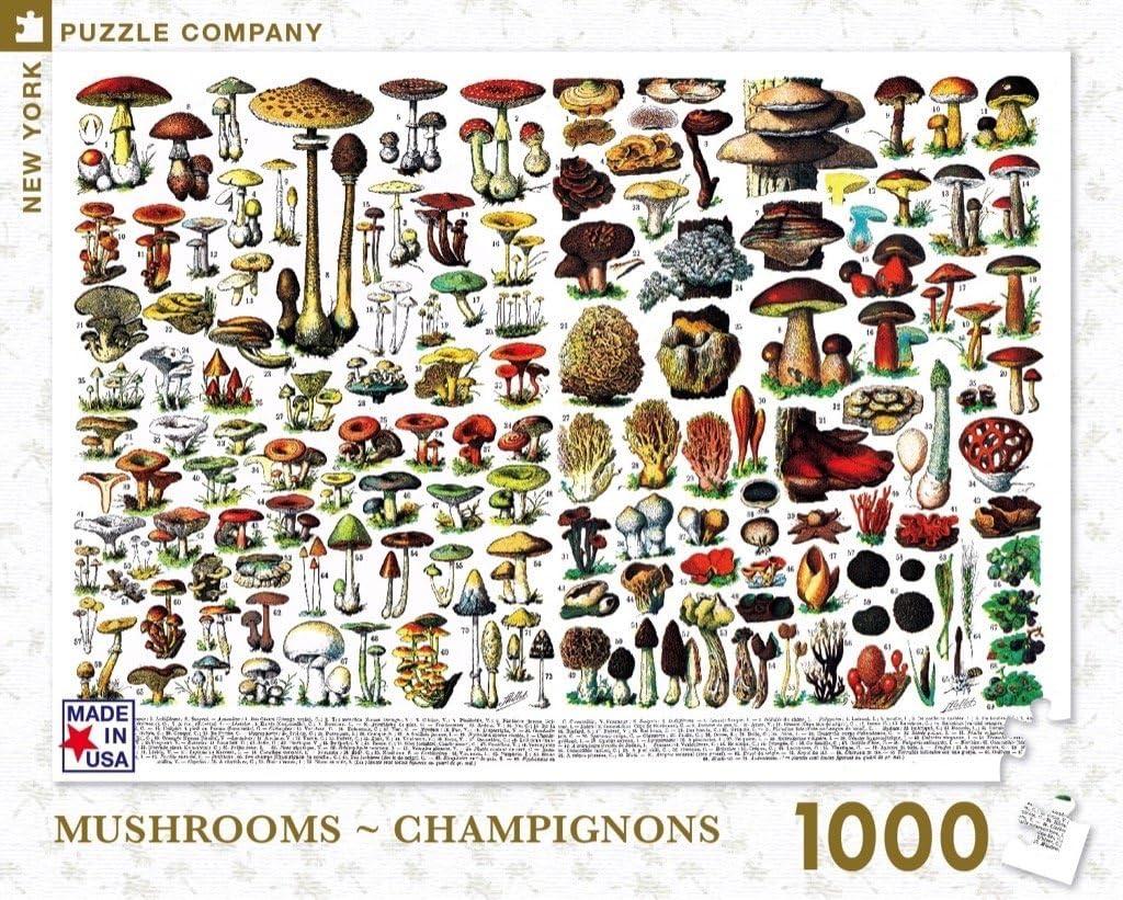 New York Puzzle Company - Mushrooms ~ Champignons - 1000 Piece Jigsaw Puzzle