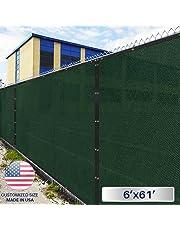 Windscreen4less Heavy Duty Privacy Screen Fence in Color Solid Green 6' x 50' Brass Grommets w/3-Year Warranty 140 GSM (Customized