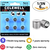 CR1/3N 7 Years Warranty Laser Sight Battery Special High Capacity 170mAh 3V Lithium Same as 1/3N DL1/3N for Dog Collar CELEWELL Brand 6 Count